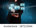 businessman holding a tablet... | Shutterstock . vector #187112066