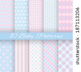 Stock vector  baby pastel different vector seamless patterns tiling endless texture can be used for 187113206