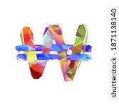 korean won  krw  vector sign on ... | Shutterstock .eps vector #1871138140