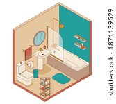 bathroom in isometric style.... | Shutterstock .eps vector #1871139529