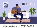handsome man staying at home...   Shutterstock .eps vector #1871204626