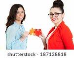 beautiful women  assembling... | Shutterstock . vector #187128818
