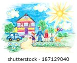 bright childrens sketch with... | Shutterstock . vector #187129040