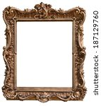 vintage wooden frame isolated... | Shutterstock . vector #187129760