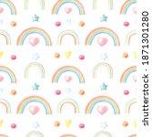 watercolor multicolored rainbow ...   Shutterstock . vector #1871301280