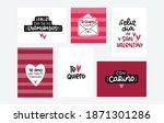 valentine card set in spanish... | Shutterstock .eps vector #1871301286