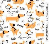 Seamless Cute Puppy Dog Pattern....