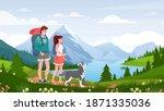 cartoon flat happy traveler... | Shutterstock .eps vector #1871335036