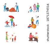 city autumn people flat color...   Shutterstock .eps vector #1871374516