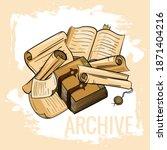 antique paper  books  parchment ... | Shutterstock .eps vector #1871404216
