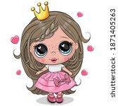 Cute Cartoon Little Princess In ...