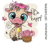 cute cartoon cow with flowers... | Shutterstock .eps vector #1871405596