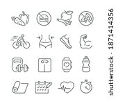 fitness related icons  thin... | Shutterstock .eps vector #1871414356