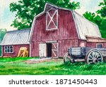 Farm And Red Barn. Country...