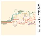 flat vintage infographics... | Shutterstock .eps vector #187152473