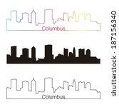 columbus  skyline linear style... | Shutterstock .eps vector #187156340