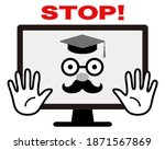 dr. pc issuing a stop sign. ... | Shutterstock .eps vector #1871567869
