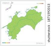 Map Of Shikoku In Japan. Vector ...