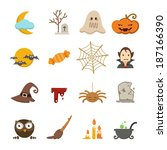halloween icons set | Shutterstock .eps vector #187166390