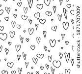 hand drawn heart seamless...   Shutterstock .eps vector #1871707009