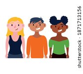 young interracial people... | Shutterstock .eps vector #1871713156