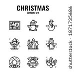 christmas outline icon set 1. ... | Shutterstock .eps vector #1871735686