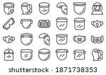face shield icons set. outline... | Shutterstock .eps vector #1871738353