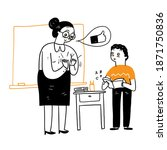 teacher praise for student with ... | Shutterstock .eps vector #1871750836