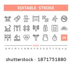 gym 20 line icons. vector...   Shutterstock .eps vector #1871751880