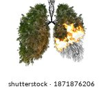 Small photo of Abstract silhouette of lungs on a white background . Trees are the lungs of the planet. Air pollution. Harm to nature. Ecological concept. Tree branch. The concept of pneumonia and bronchitis.
