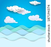 seascape with clouds. vector... | Shutterstock .eps vector #187194374