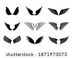 a set of black wings. vector... | Shutterstock .eps vector #1871973073