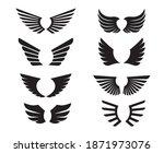 a set of black wings. vector... | Shutterstock .eps vector #1871973076