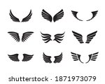 a set of black wings. vector... | Shutterstock .eps vector #1871973079