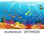 A vector illustration of marine underwater scene - stock vector