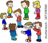 blind man's buff cartoon | Shutterstock . vector #187198580