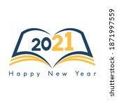 creative book of 2021 happy new ... | Shutterstock .eps vector #1871997559