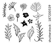 flowers leaves silhouettes. the ... | Shutterstock .eps vector #187200539