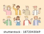 hello  greeting  mixed race... | Shutterstock .eps vector #1872043069