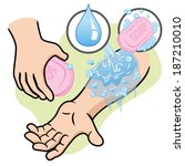 aid first wash the wound with...   Shutterstock .eps vector #187210010