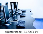 modern computers in IT office - stock photo