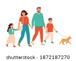 a couple with two children and... | Shutterstock .eps vector #1872187270