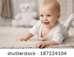 portrait of a crawling baby on... | Shutterstock . vector #187224104