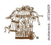 sketch birdcage vector | Shutterstock .eps vector #187236029