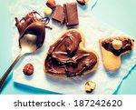 sweet nougat cream on the heart ... | Shutterstock . vector #187242620