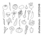 set of hand drawn vegetables.... | Shutterstock .eps vector #187250348