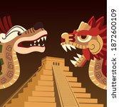 Aztec Snakes Pyramid Culture...