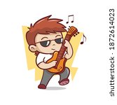 the cute man playing guitar...   Shutterstock .eps vector #1872614023