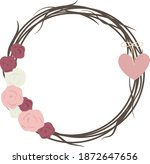romantic wreath with roses... | Shutterstock .eps vector #1872647656