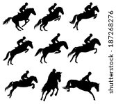 Stock vector set of a jumping horse with rider silhouettes 187268276